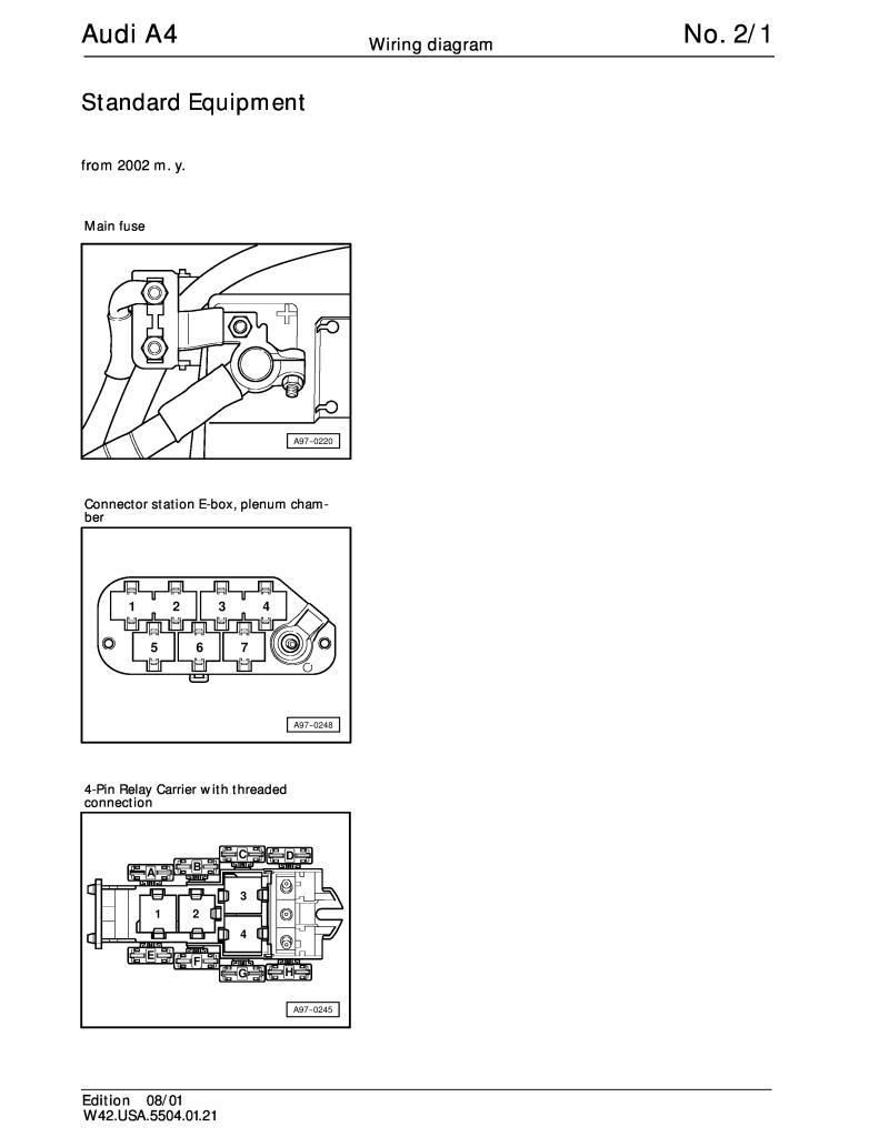 2002 Up Audi A4 Standard Equipment Wiring Diagram Pdf  747 Kb